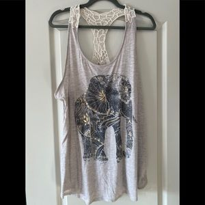 Oversized Elephant design tank top